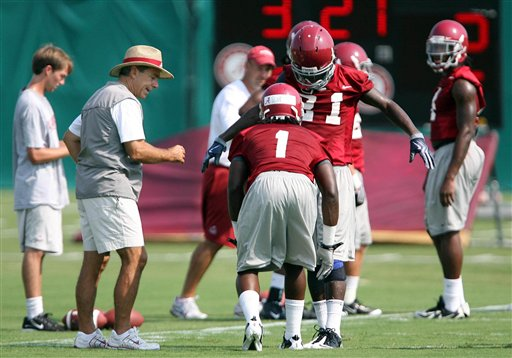 Alabama head coach Nick Saban, second from left, works with defensive backs B.J. Scott (1) and  Dre Kirkpatrick (21) during NCAA college football practice in Tuscaloosa, Ala., Thursday, Aug. 5, 2010.  (AP Photo/The Tuscaloosa News, Dusty Compton)